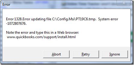 QuickBooks Update Error 1328