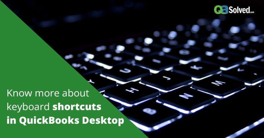 keyboard shortcuts in QuickBooks