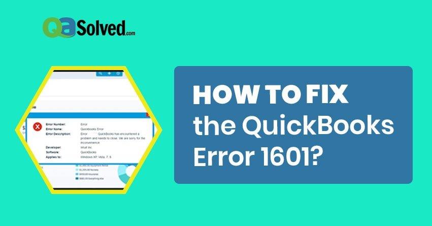 QuickBooks Error 1601